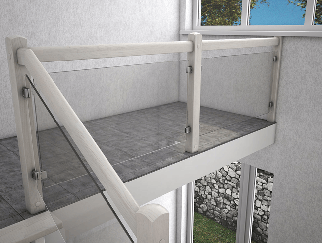 ограждение со стекла лестницы на 2 этаж