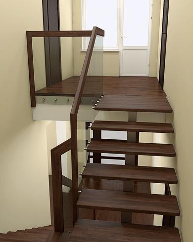 металеві сходи обшиті дубом