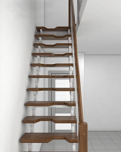 дерев'яні сходи на залізному каркасі