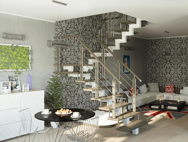 дерев'яні сходи на металевому каркасі
